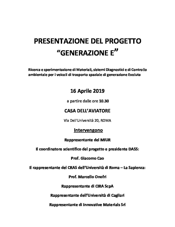 """PRESENTAZIONE DEL PROGETTO """"GENERAZIONE E"""""""