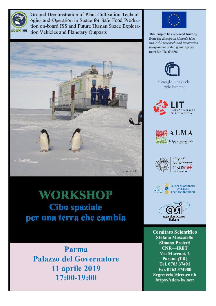 WORKSHOP: Cibo spaziale per una terra che cambia.   Parma 11 aprile 2019
