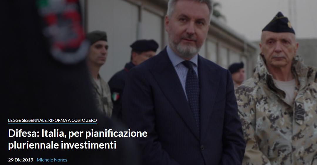 Difesa: Italia, per pianificazione pluriennale investimenti