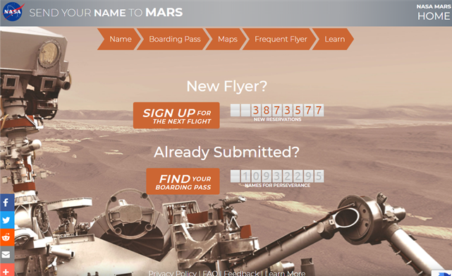 Send Your Name to Mars: Mars 2020 Perseverance