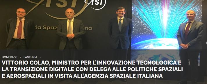 Il Ministro Colao ha visitato la sede dell'Agenzia Spaziale Italiana