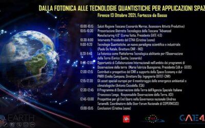 Dalla Fotonica alle tecnologie quantistiche per le applicazioni spaziali. Firenze, Fortezza da Basso 13 Ottobre 2021- Il programma della mattina